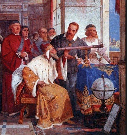 Galileo mostra l'uso del cannocchiale al doge di Venezia Leonardo Donà