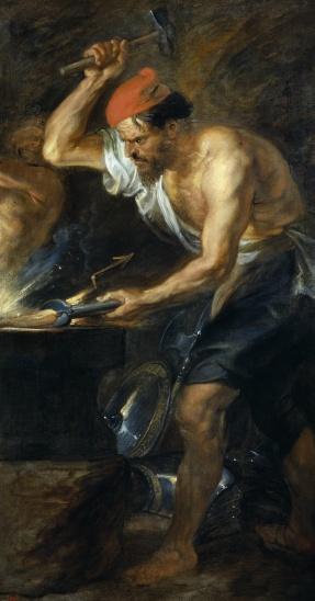 Vulcano forgia le folgori per Giove di Rubens (XVII secolo)