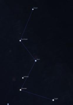 Magnitudine limite 4. Cassiopea su cielo inquinato.