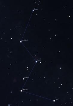 Magnitudine limite 7. Cassiopea su cielo limpido e scuro.