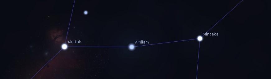 Le tre stelle che compongono la cintura di Orione.