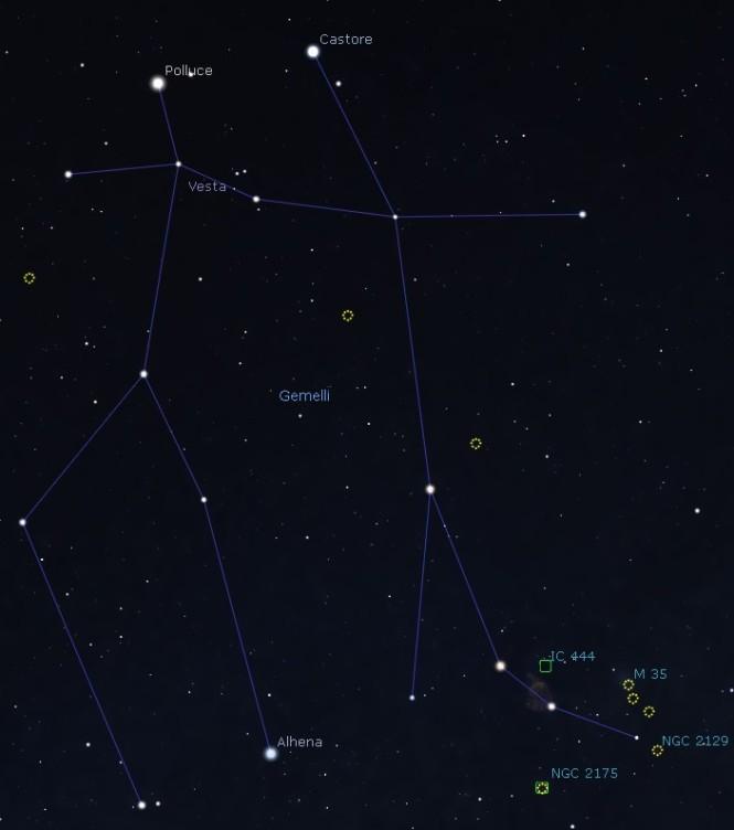 I Gemelli. Castore è il fratello sulla destra. Il suo piede, il più lungo, è quello in cui cercare M35, poco più in alto. Software Stellarium.