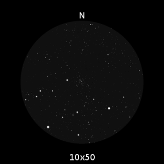 M35 come appare nel campo visivo di un binocolo 10x50. A dire il vero, si vede molto meglio di come è qui rappresentato. Luminosità e stelle, almeno nel mio caso, erano sicuramente maggiori per intensità e numero.