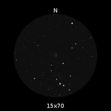 M38 nel campo visivo di un binocolo appena più potente del mio, un 15x70