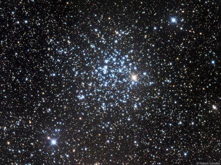 M52, lunga esposizione. Robert Gendler. In visuale è possibile identificare qualche stella in una nebulosità diffusa.