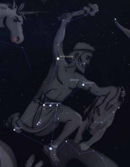 Orione e la sua costellazione. Si noti la cintura, composta da tre stelle molto visibili e praticamente allineate.