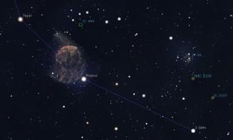 Dettaglio del piede di Castore. M35 è ben visibile appena sopra. Software Stellarium.