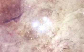 Dettaglio del Trapezio, nelle regioni interne di M42. Telescopio Hubble.