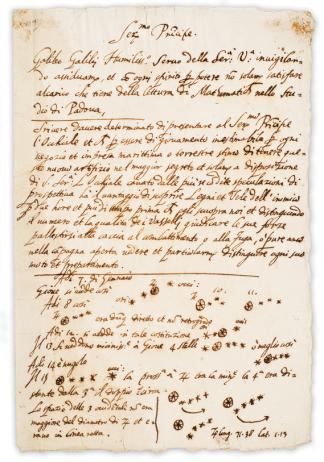 Manuscritto di Galileo Galilei contenente la descrizione delle sue prime osservazioni celesti nel 1610.