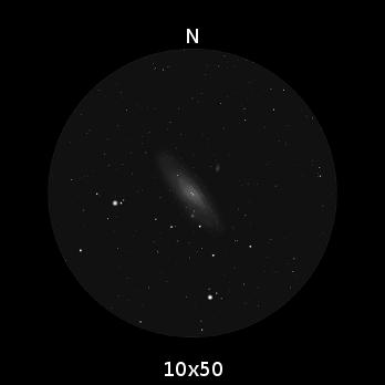 M31, la Galassia di Andromeda, per come appare ad un binocolo 10x50.