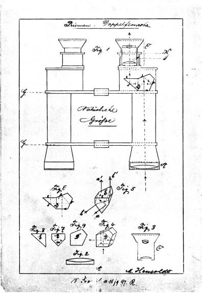 Progetto originale di un binocolo con prismi a tetto.