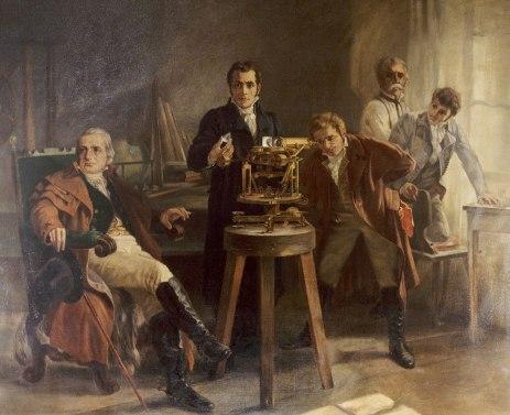 Una rapresentazione di Joseph von Fraunhofer mentre mostra, ai colleghi, lo spettroscopio.