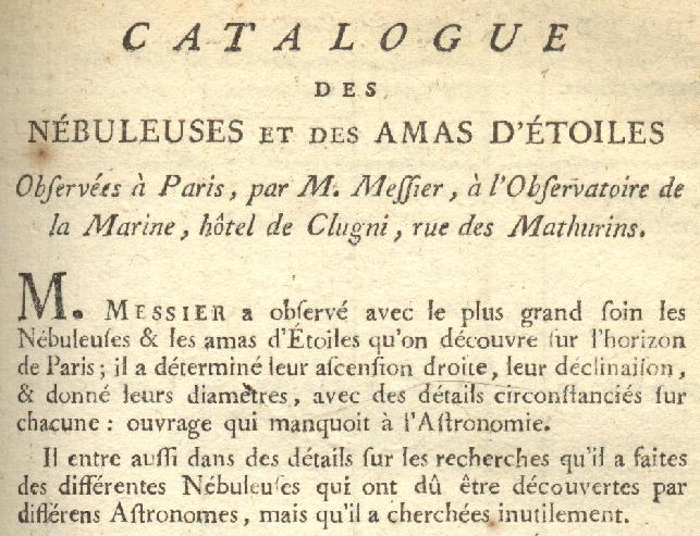 Titolo e primi paragrafi del Catalogo Messier