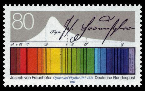 Francobollo dedicato a Joseph von Fraunhofer.