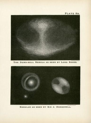 In alto, uno schizzo di Lor Rosse di M27. In basso, a destra, lo stesso oggetto rappresentato da John Herschel (a sinistra, M51)