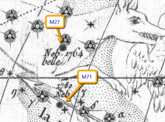 Posizione di M27 (ed M71) nella Volpetta nella Carta della Cometa del 1779